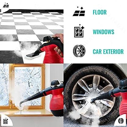 NEU-ORIGINAL-Comforday-Dampfreiniger-fr-Arbeitsflchen-Mlleimer-Boden-Fenster-Autositze-PERFEKT-fr-Bad-u-Badezimmer-Polster-Matratze-Vorhnge-Teppiche-u-KatzenWC-TESTSIEGER-Rot
