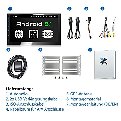 XOMAX-XM-2VA754-Autoradio-mit-Android-81-OctaCore-2GB-RAM-32GB-ROM-GPS-Navigation-I-Support-WiFi-WLAN-3G-4G-DAB-OBD2-I-Bluetooth-7-Zoll-18-cm-Touchscreen-USB-SD-2-DIN