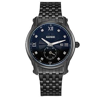 iWatch-Herren-Damen-Armbanduhr-Analog-Quarz-30M-Wasserdicht-Elegant-Business-Casual-Partner-Uhr-mit-Edelstahl-Armband-Schwarz