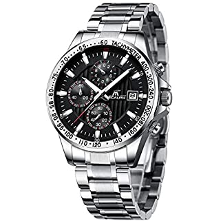 MEGALITH-Herren-Uhren-Mnner-Militr-Wasserdicht-Chronograph-Silber-Edelstahl-Armbanduhr-Mann-Schwarz-Business-Coole-Datum-Kalender-Uhr