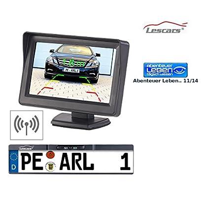 Lescars-Funk-Rckfahrkamera-Funk-Rckfahr-Kamera-im-Nummernschild-Halter-mit-109-cm-TFT-Monitor-Rckfahrkamera-Funk-Nummernschild