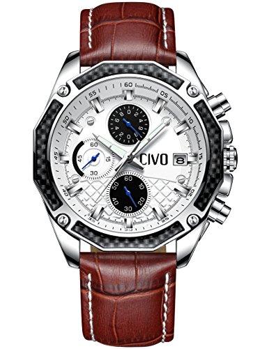 CIVO-Herrenuhren-Multifunktional-Chronograph-Datum-Kalender-Wasserdicht-Analog-Quarzuhr-mit-Braun-Echtes-Lederband-Luxus-Beilufig-Geschft-Mode-Armbanduhr-zum-Mnner