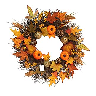 Bouncevi-Herbst-Deko-Kranz-Mit-Leichtem-Krbis-Trkranz-Tischkranz-Deko-Wandschmuck-Thanksgiving-Halloween-Weihnachts-Blatt-Dekoration-Pendant-Kranz