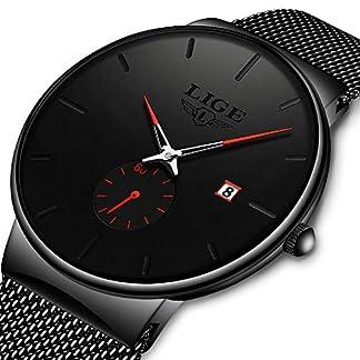 LIGE-Herren-Uhren-Minimalistischen-Wasserdicht-Mnner-Armbanduhr-Mode-Elegant-Geschft-Schwarz-Quarz-Herrenuhr-fr-Mann-mit-Edelstahl-Mesh-Minimalistische-Quartz-Edelstahl-Armbanduhren