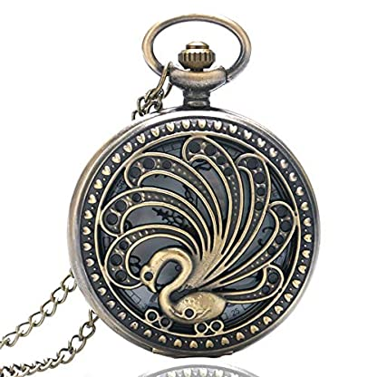 Pfau-Blumen-Taschenuhr-antike-Art-Taschen-Uhren-Halsketten-Anhnger-Geschenke