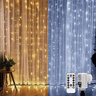 LE-Lichtervorhang-LED-Lichterkette-300-LEDs-Kaltwei-und-Warmwei-dimmbar9-Modi-mit-Fernbedienung3mx3mStrombetrieben-mit-Stecker-ideale-Weihnachtsdeko-fr-Innen-Deko-Haus-Fenster-usw