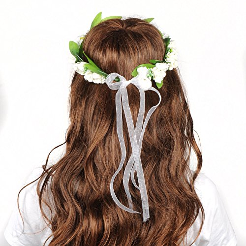OFTEN® Blumenkranz Blumenstirnband Blumenkrone Haarkranz Garland Halo mit Floral-Handgelenk-Band Hochzeit Festival Braut
