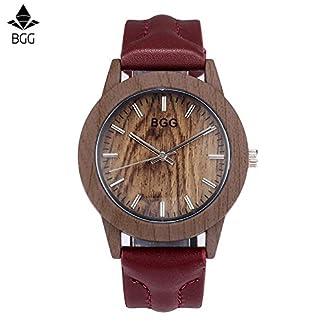 Souarts-Damenuhr-Analog-Quarz-Armbanduhr-Einfach-Mode-Holz-Material-Zifferblatt-und-Leder-Armband