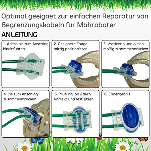 LoHaG-20-Kabelverbinder-in-praktischer-Box–Reparaturset–Ideal-fr-Rasenmher-Mhroboter-Rasenroboter-Kabel-Verbinder–Kabelklemmen-Anschlussklemmen-wasserdicht