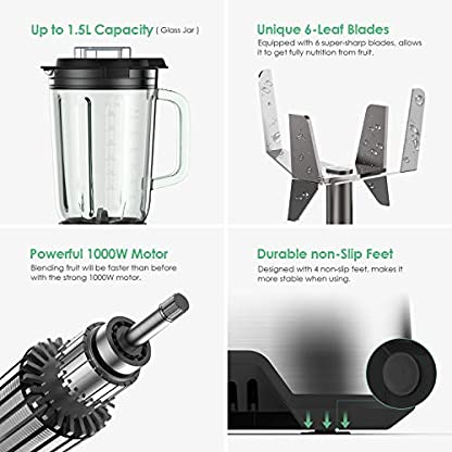 Standmixer-Hochleistung-1000W-Blender-Smoothie-Maker-25000-Umin-mit-15L-Glasbehlter-und-500g-Mahlbecher-Mixer-mit-Stufenloser-Geschwindigkeit-und-6-Edelstahlklingen-Homtiky