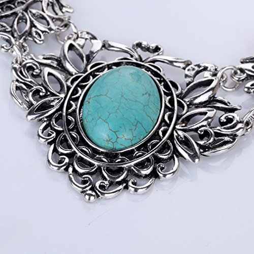 YAZILIND Hohl Tibetischen Silber Grün Rimous ovale Türkis-Schellfisch -Kragen Ohrringe Halskette Schmuck-Set Frauen (Rock & Gothic & Fantasy)
