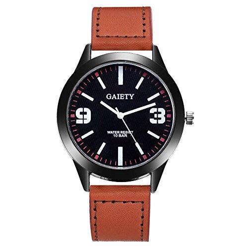 Damen-Casual-Armbanduhr-Lederarmband-Damenuhr-Analog-Quartz-Uhr-Brauen