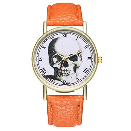 Homim-Damen-Armbanduhr-Multifarbe-PU-Leder-Armband-Rmische-Ziffern-Totenkopf-Muster-Frauen-Analog-Quarzuhr-Dornschliee-Uhr