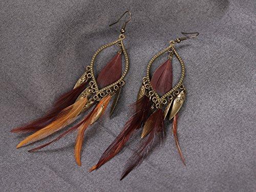 Weise Exotisch Legierung Feder Lang Tropfen Ohrringe für Frauen Mädchen