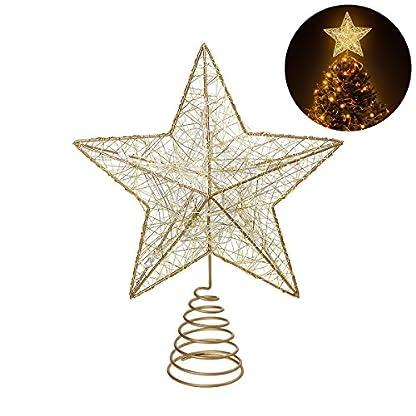 NICEXMAS-Weihnachtsbaum-LED-Stern-Baum-Topper-Batteriebetriebene-Treetop-Dekoration-Gold