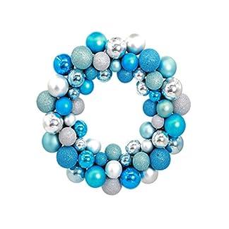 Kugelkranz-LUOEM-Weihnachtskranz-mit-Kugeln-Weihnachtskugel-Weihnachten-Tr-Anhnger-Silber-Blau