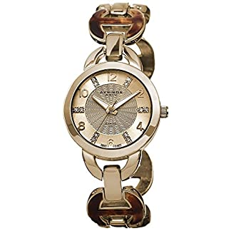 Akribos-XXIV-Damen-Lady-Diamond-Analog-Display-Swiss-Quartz-Uhr-mit-Legierung-Armband
