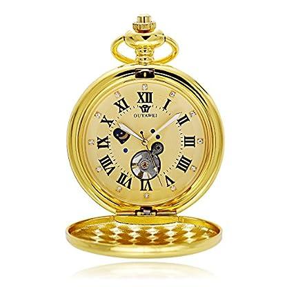 OUYAWEI-Taschenuhr-Retro-Herren-Gold-Skelett-Hand-Wind-Mechanische-Taschenuhr-Mit-Kette-Geschenk-Rmische-Ziffern-Sonne-Mond-Diamant