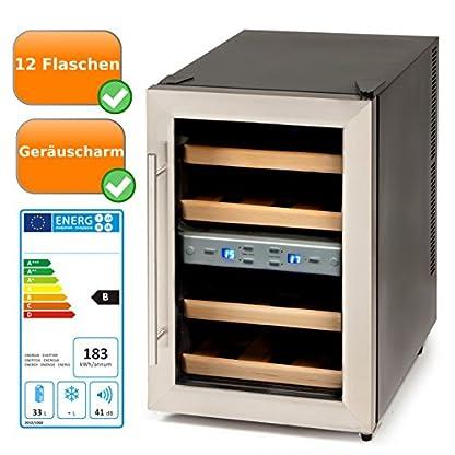 Wein-Klimaschrank-fr-1-Liter-Flaschen-mit-Glastr-Display-mit-Temperaturanzeige-zum-optimalen-einstellen-der-richtigen-Temperatur-Weinkhlschrank-fr-12-Flaschen-schwarz