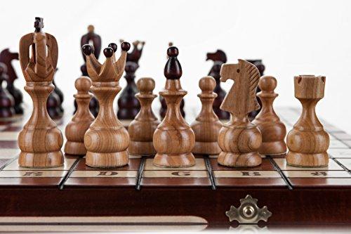 ROYAL-groe-48cm189-In-Handarbeit-aus-Holz-Schachspiel-Kirschbaum