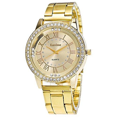 Homim-Unisex-Analog-Quarzuhr-gold-Farbe-Metall-Armband-Rmische-Ziffern-Strass-Zifferblatt-Uhrwerk-Damen-Herren-Armbanduhr