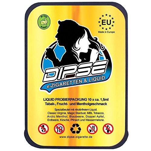 DIPSE Liquid Probier-Set für jede e Zigarette / eShisha – Frucht und Tabak Sorten zum Testen – Nikotinfrei (0.0mg/ml) von Dipse, 10 Stück