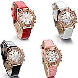 JewelryWe-Damen-Armbanduhr-Analog-Quarz-Fashion-Luxus-Leder-Armband-Uhr-mit-2-Strass-Linien-Zifferblatt-Rot-Schwarz-Weiss