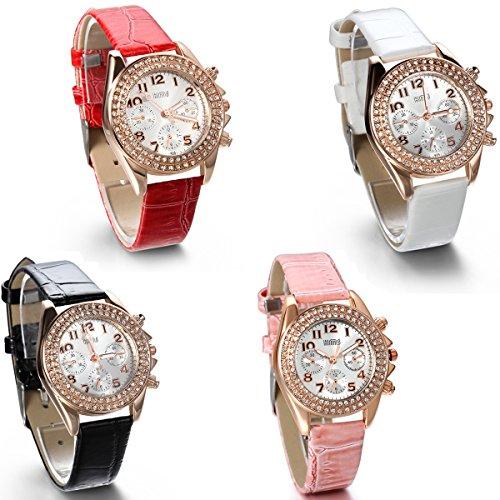 jewelrywe damen armbanduhr analog quarz fashion luxus leder armband uhr mit 2 strass linien. Black Bedroom Furniture Sets. Home Design Ideas