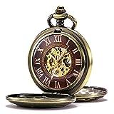 TREEWETO-Retro-Bronze-Mechanische-Taschenuhr-Drache-Gehuse-Doppelt-Halbjger-Design-Skelett-Rmische-Ziffern-Taschenuhren-mit-kette-und-Geschenkbox