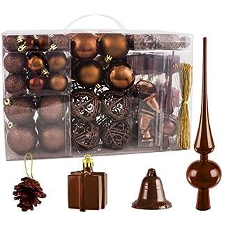 Brubaker-Christbaumkugel-Set-mit-Tannenzapfen-Weihnachtsglocken-Geschenken-Christbaumspitze-Christbaumschmuck-101-Teile-Braun