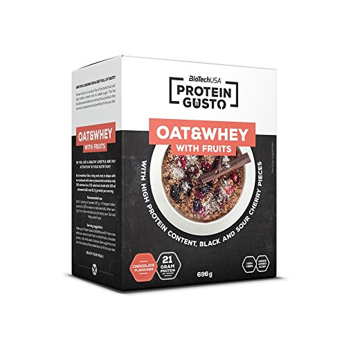 Oat & Whey with fruits Schokolade-Kirsche 696 g Packung – Haferflocken mit Früchten – BiotechUSA