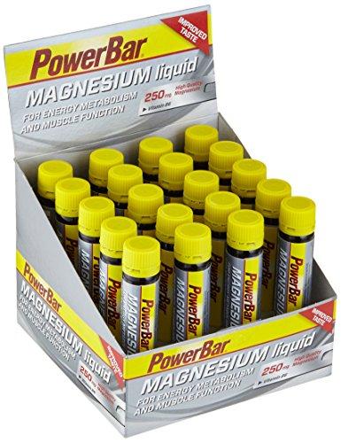 Hochwertiges liquid Magnesium von Powerbar – Mit 250mg Magnesium-Citrat und Vitamin B6 pro Ampulle – Ohne Aspartam, Glutenfrei und Vegan – Praktisch für Unterwegs – 20 x 25 ml