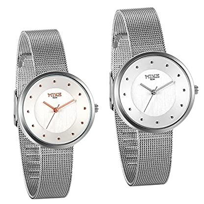 JewelryWe-Damen-Armbanduhr-Elegant-Analog-Quarz-Uhr-Modisch-zeitloses-Design-mit-Edelstahl-Mesh-Armband-Gauge-Nadeln-Farbe-Silber-Rose-Gold