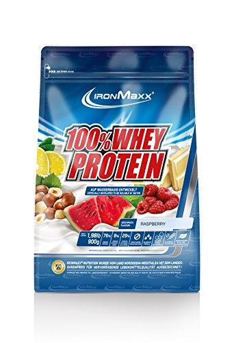 IronMaxx 100% Whey Protein / Proteinpulver auf Wasserbasis / Eiweißpulver für Proteinshake mit Himbeer Geschmack / 1 x 900 g Beutel