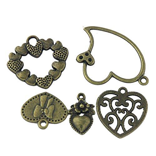 20pcs Retro Bronze Schlüssel Anhänger Schmuck Deko Für Halskette Kette DIY Antike Bronze Gemischten Stil Herz-Anhängers Für Handwerk Entdeckungen