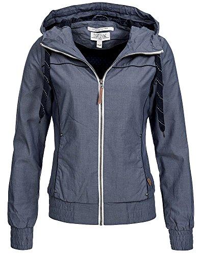 Eight2Nine Damen Jacke Übergangsjacke LETN-008 mit Kapuze Blouson, Kontrast-Zipper