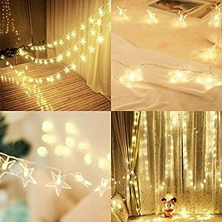 Salcar-5m-USB-Lichterkette-LED-Stern-licht-String-15m-Stromkabel-40er-LED-dekorativer-Lichtervorhang-fr-Hochzeit-Party-Weihnachten-Festen-usw-Warmwei