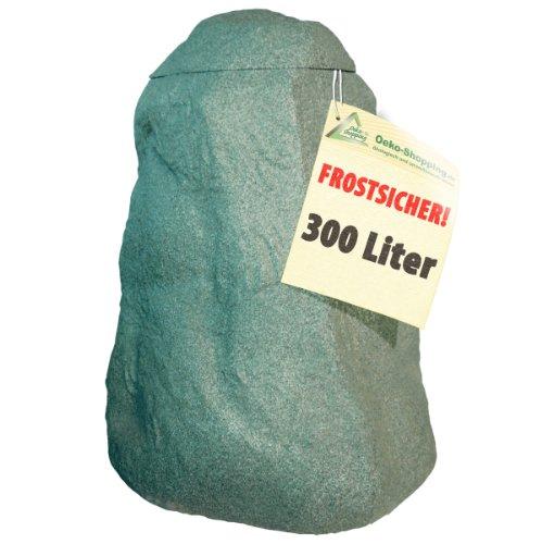 WINTER-SCHLUSS-SONDERPREIS-REGENTONNE-REGENFASS-REGENWASSERTONNE-REGENSPEICHER-REGENTANK-Frostsichere-Regentonne-FELS-300l-natur-grn-mit-stabilem-Deckel-und-Wasserhahn