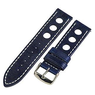 20-mm-Rallye-Racing-3-Loch-Vintage-blau-Leder-austauschbar-Uhrenarmband