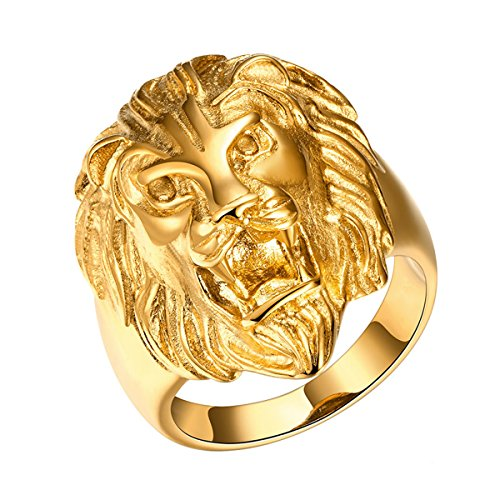 Yodensity Herren Edelstahl Ring Fingerring Bandring Goldlöwe Kopf Form