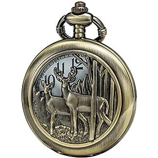 SEWOR-Bronze-Fall-Japan-Quarz-Uhrwerk-Taschenuhr-mit-doppelter-Kette-Metall-Leder