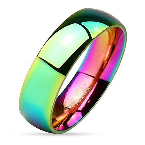 Bungsa® Regenbogen Ring Edelstahl klassisch bunt für Damen & Herren 49-67 (Fingerring Partnerringe Verlobungsringe Trauringe Damenring Chirurgenstahl Frauen Männer)