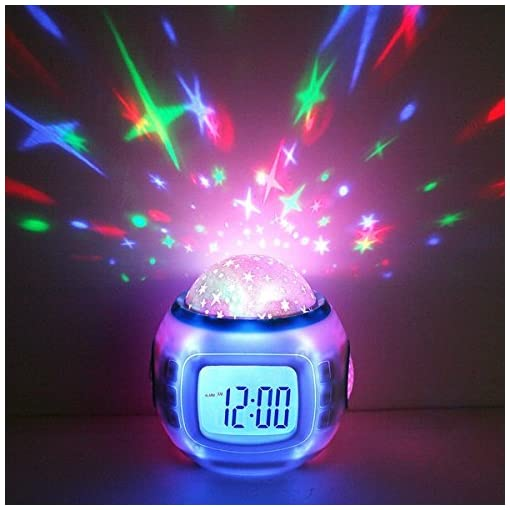 PREMIUM-Wecker-LED-Sternenhimmelprojektor-digital-10-Melodien-Uhr-Nachtlicht-Einschlafhilfe-fr-Baby-Kinder-Dekolampe-Deko-Lampe-Leuchte-Dekoleuchte-Nacht-Licht-Sternenhimmel-Mond-und-Sterne-Projektor-