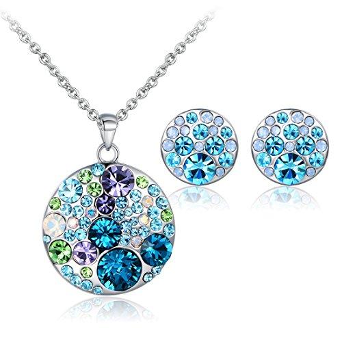JiangXin Damen Schmuck Set Blau Österreich Kristall Ohrring Ohrstecker Anhänger Halskette Mit 40+5CM Kette Schönes Geschenk Für Fraun & Mädchen