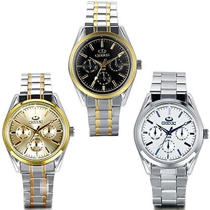 JewelryWe-Herren-Armbanduhr-Analog-Quarz-Luxus-Elegant-Business-Uhr-mit-Edelstahl-Armband-Rund-Zifferblatt
