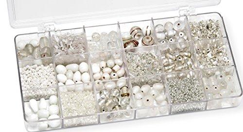 Knorr prandell 216050000 Sortimentsbox Glasperlen (21 x 10,5 x 2,4 cm, 200 g) weiß