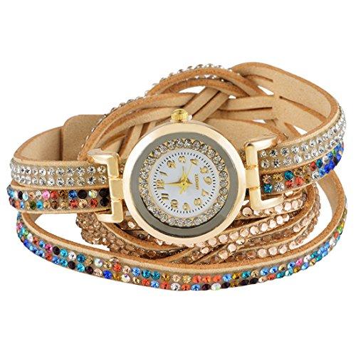 MJARTORIA-Damen-Boho-Strass-Armbanduhr-Elegant-Klein-Mode-Damenuhr-Analog-Quarz-Uhr-Braun
