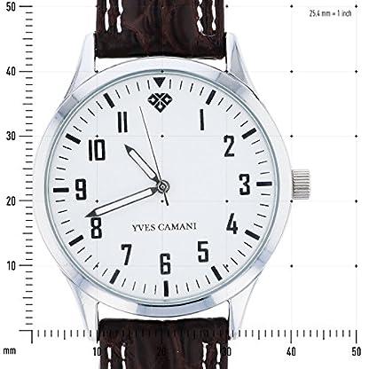 Yves-Camani-Unisson-Unisex-Armbanduhr-mit-weiem-Zifferblatt-und-braunem-Lederarmband-mit-weier-Naht