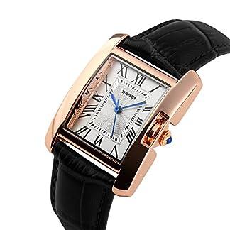 iLove-EU-Damen-Armbanduhr-30m-Wasserdicht-Leder-Band-Analog-Quarz-Uhr-Sportuhr-mit-Rechteckig-Rmischen-Ziffern-Zifferblatt-Schwarz