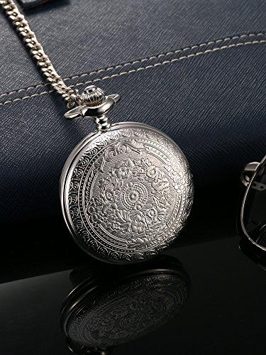 Klassische-Quarz-Taschenuhr-mit-rmischen-Ziffern-Skala-und-Kettengrtel
